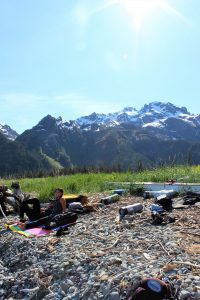 Enjoying the sun in Ressurection Bay, Seward