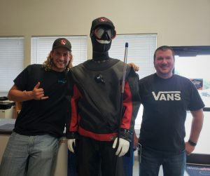 Alex and Nick with Dewey, the DUI drysuit dummy!