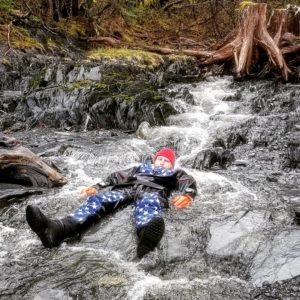 Fresh water rinse in a runoff creek in Whittier, Alaska