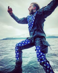custom drysuit dry suit diving dui flx extreme stars and stripes evel knievel